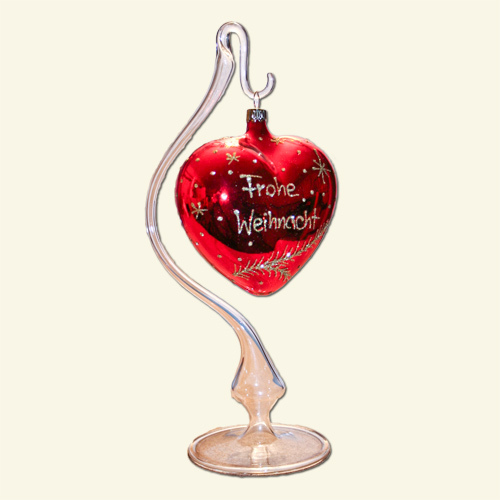 Glass heart on stand
