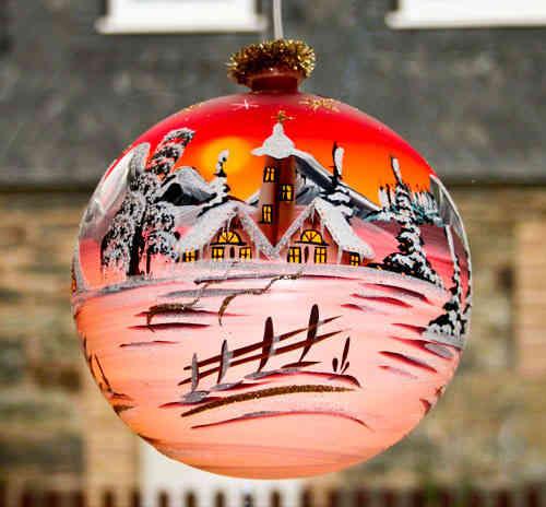 Beleuchtete Weihnachtskugeln.Illuminated Glass Sphere 18 Cm Lauscha Glass Art