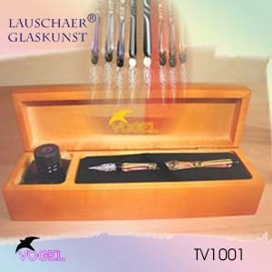 Glass pen set in a exclusiv wooden case