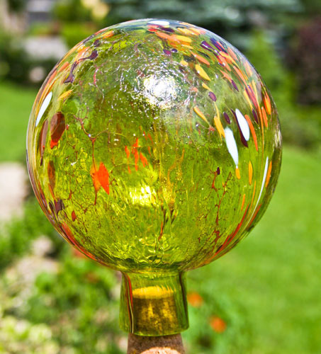 Garden ball green-yellow transparent