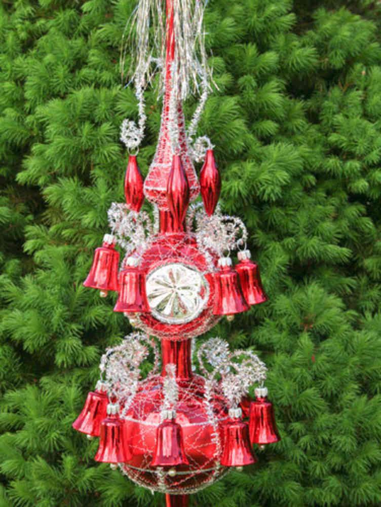 Weihnachtsbaumspitze  Lauscha Thüringer Rot Glanz Baumspitze Christbaumspitze